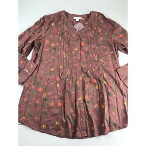Coldwater Creek Fall Autumn Leaf Leaves Blouse Top